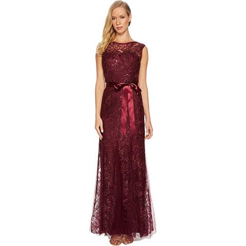 Adrianna Papell Long Sequin and Embroidered Gown, Cabernet, 12