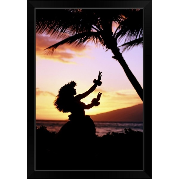 """Hawaiian Islands hula dancer"" Black Framed Print"