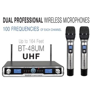 Boytone BT-48UM 100 Channels Pro Dual UHF Wireless Digital Metal Microphone-Base System, 2 Handheld Dynamic