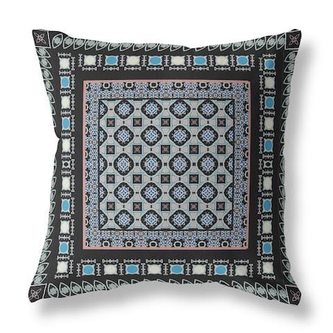 Amrita Sen Floral Windows Broadcloth Indoor Outdoor Pillow, BlackBlue
