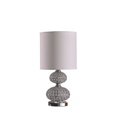 Stacked Ball Design Metal Table Lamp with Crystal Accents, Silver