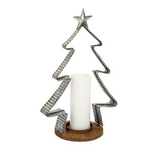 """Set of 2 Grey and Brown Rustic Finish Christmas Tree Inspired Candle Holder 18.5"""""""