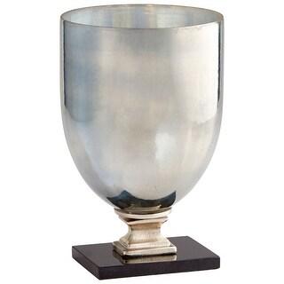 "Cyan Design 09768  Odetta 9"" Diameter Aluminum, Glass, Marble Vase - Rustic Nickel / Verdi"
