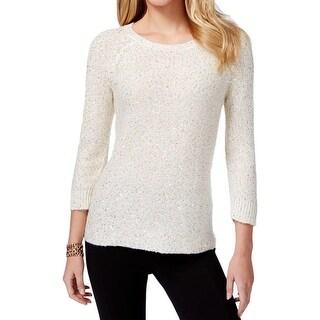 Anne Klein Womens Pullover Sweater Sequined Raglan Sleeves
