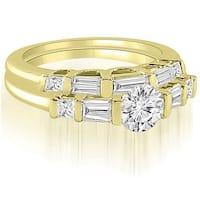 1.40 cttw. 14K Yellow Gold Round And Baguette Cut U-Bar Diamond Bridal Set