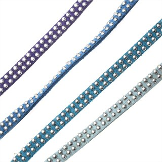 BeadSmith Studded Faux Suede, Jewelry Cord Assortment 5mm Wide, 8 Meters Total, Blues Mix