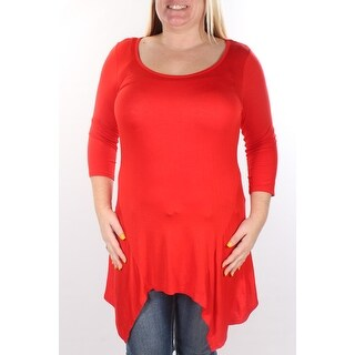 Womens Red 3/4 Sleeve Scoop Neck Top Size S