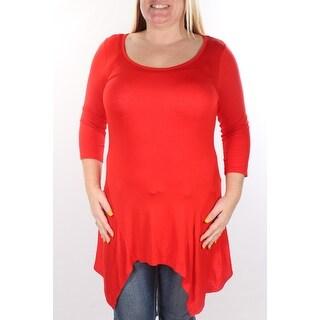 ULTRA FLIRT 1452 Womens 1225 Red Scoop Neck 3/4 Sleeve Casual Top S B+B