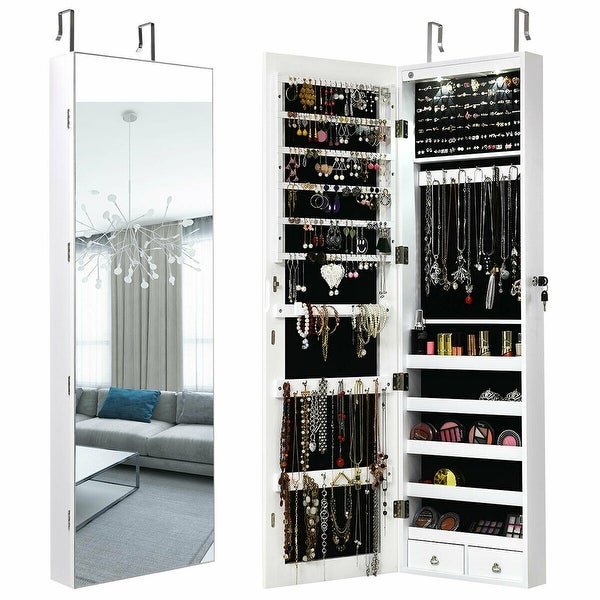 Gymax Wall & Door Mounted Mirrored Jewelry Cabinet Storage Organizer