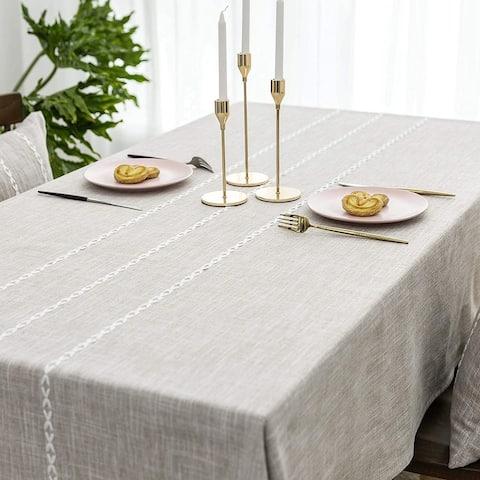 Faux Burlap Tablecloth Rectangular Oblong Table Cover