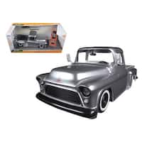 1955 Chevrolet Stepside Pickup Truck Silver Just Trucks with Extra Wheels 1/24 Diecast Model by Jada