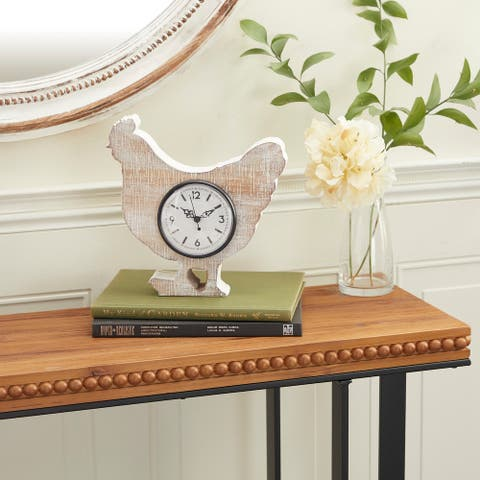 White Wood Farmhouse Clock 10 x 10 x 3 - 10 x 3 x 10