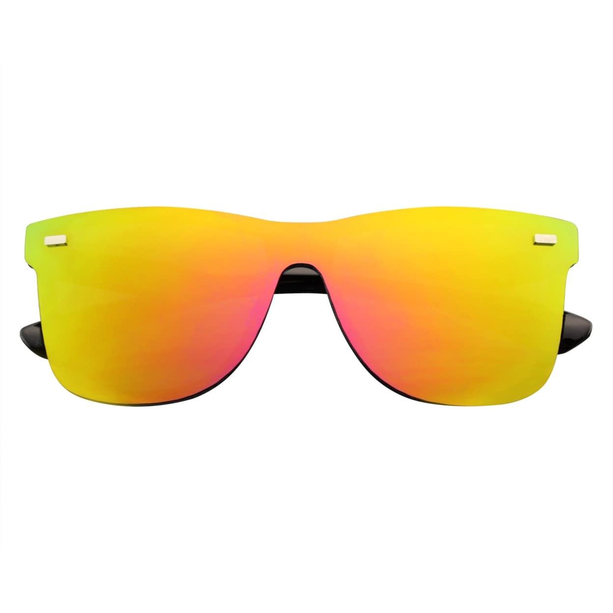 Mens Womens Mirrored Rimless Color Lens Reflective Retro Vintage Flat Sunglasses