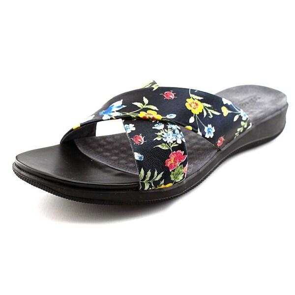 Softwalk Tillman Women N/S Open Toe Leather Black Slides Sandal