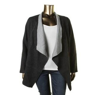 Eileen Fisher Womens Plus Merino Wool Open Front Motorcycle Jacket