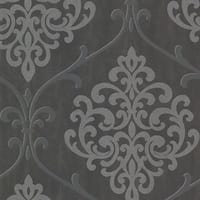 Brewster 2542-20718 Ambrosia Charcoal Glitter Damask Wallpaper - N/A