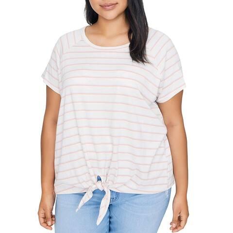 Sanctuary Womens Plus Lou T-Shirt Striped Knot-Front - Beige/Blue/Orange