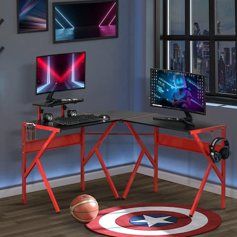 HOMCOM L-Shaped Gaming Desk Corner Computer Desk Gaming Table for PC Workstations with Adjustable Study Table Home Office Desk