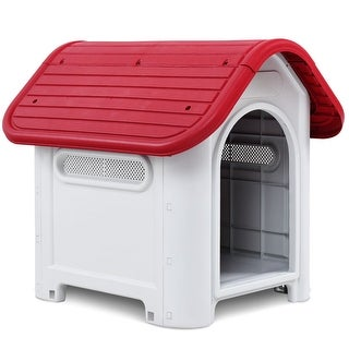 Gymax Indoor Outdoor Plastic Dog House All Weather Waterproof Puppy Pet Shelter Red
