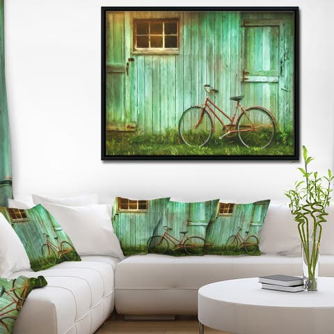 Designart 'Old Bicycle against Barn' Landscape Photo Framed Canvas Art Print