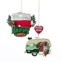 """Club Pack of 12 Happy Camper Ornaments 3.75"""" - RED"""