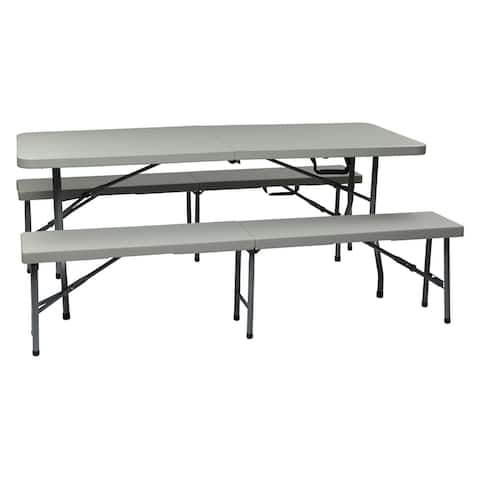 OS Home and Office Furniture Model QT3965 3 Piece Folding Table and Bench Set
