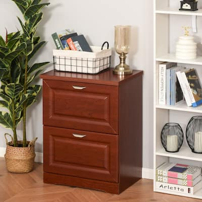 HOMCOM Wood 2-Drawer Lateral File Cabinet Organizer with File Hooks and Spacious Tabletop Display for Home Office