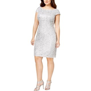 Adrianna Papell Womens Plus Cocktail Dress Sequined Shift