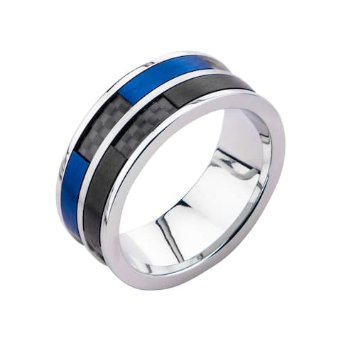 Inox Stainless Steel Black and Blue IP Ring with Black Carbon Fiber Inlay. Available Sizes: 9 -13