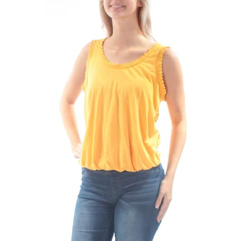 AMERICAN RAG Womens Yellow Embellished Eyelet Sleeveless Jewel Neck Top Size: S