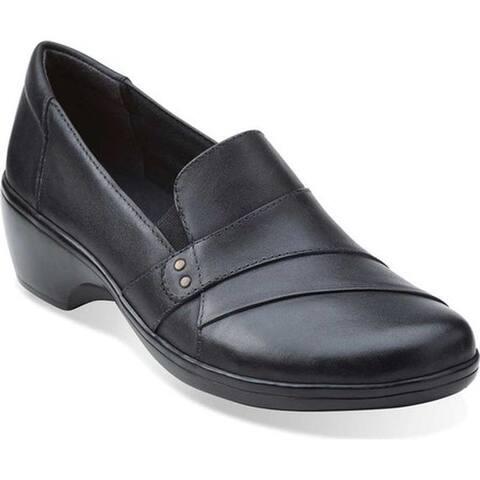 Clarks Women's May Marigold Slip-On Black Cow Full Grain Leather