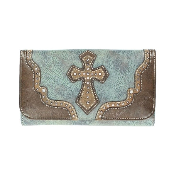 Nocona Western Wallet Womens Leather Cross Blue Brown - 7 1/2 x 4 1/2