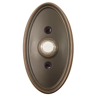 """Emtek 2402 4-1/2"""" Height Oval Style Brass Lighted Doorbell Rosette"""