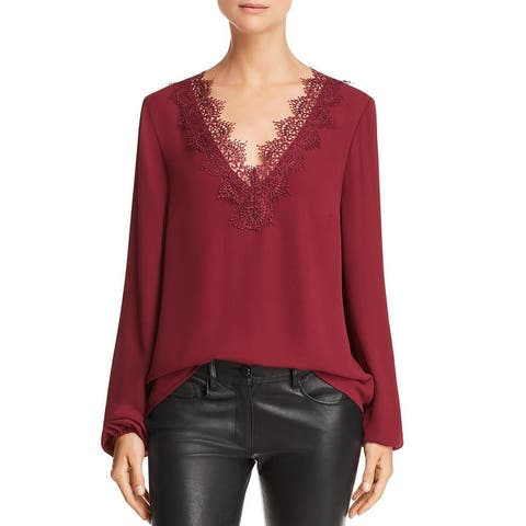 WAYF Womens Peasant Top Chiffon Lace Trim