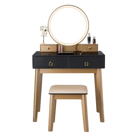Vanity Makeup Dressing Table Set with Touch Screen Dimming Mirror