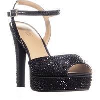 TS35 Bridget Sequined Peep Toe Ankle Strap Sandals, Black Satin
