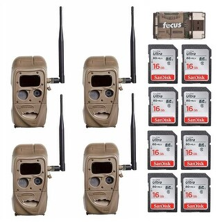 Cuddeback CuddeLink 20MP Trail Camera (4-Pack) with 16GB Card (8) and Reader