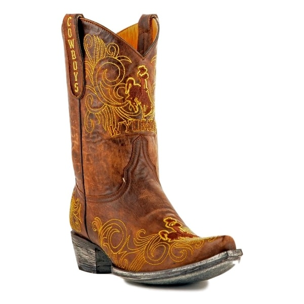 Gameday Boots Womens College Team Wyoming Cowboys Brass