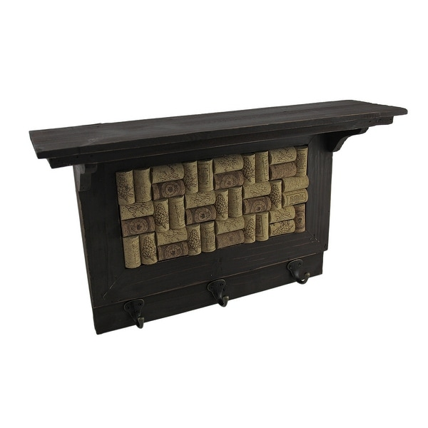 Wooden Wine Cork Board Wall Hook Shelf - 11.75 X 19.5 X 5 inches