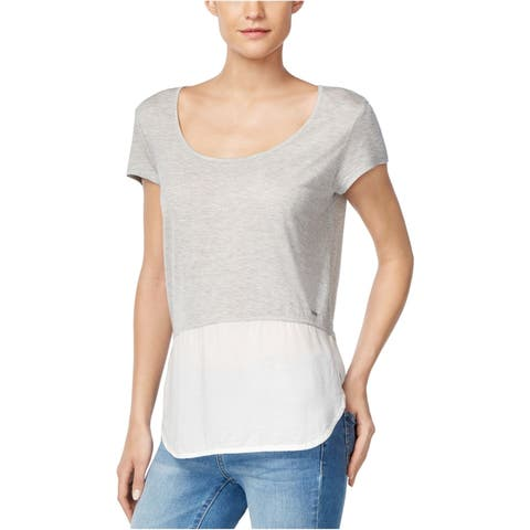 Calvin Klein Womens Mixed-Media Embellished T-Shirt