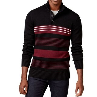 Sean John Black Red Mens Size 3XL Button-Front Mock Neck Sweater