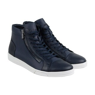 Calvin Klein Berke Emboss Leather Mens Blue Leather Casual Dress Boots Shoes