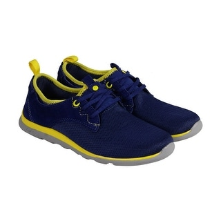 Cushe Shakra Womens Blue Yellow Textile Lace Up Sneakers Shoes
