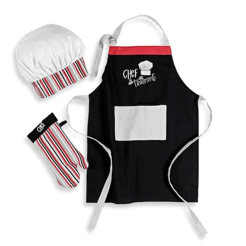 MU Kitchen MiniMU Kids 3-Piece Cotton Chef Set with Apron, Hat, and Mitt