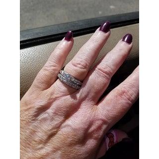 4.15 cttw. 14K White Gold Antique Round Cut Diamond Engagement Set