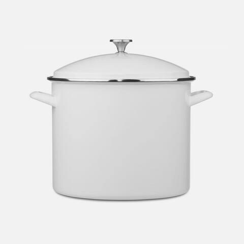 Cuisinart EOS206-33W Enamel Stockpot with Cover, 20-Quart, White