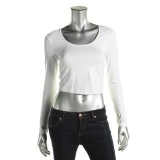 American Apparel Womens Crop Top Scoop Neck Long Sleeves