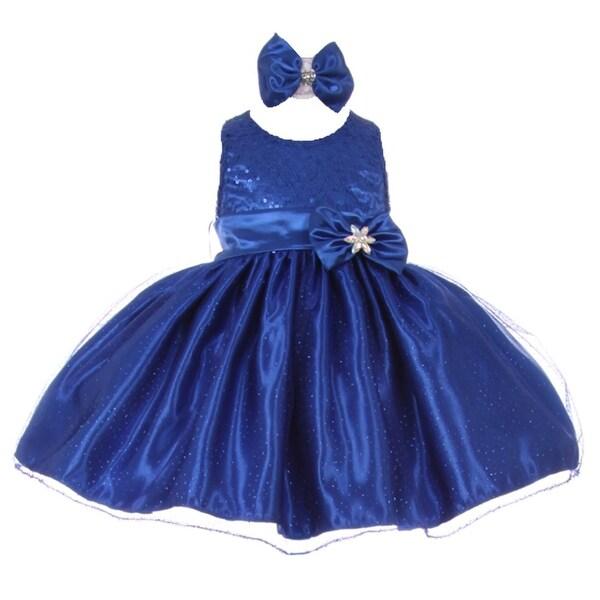 Baby Girls Royal Blue Sequined Top Glitter Bow Headband Flower Girl Dress