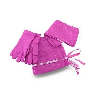 Girls Pink Harley Davidson Knit Hat/Gloves/Scarf Set