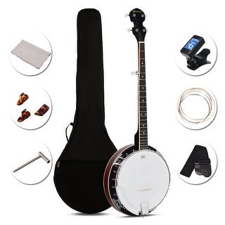 Costway Sonart 5 String Geared Tunable Banjo 24 Brackets Closed Back Remo Head w/ Case - as pic